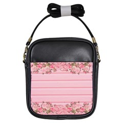 Pink Peony Outline Romantic Girls Sling Bags by Simbadda