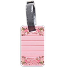 Pink Peony Outline Romantic Luggage Tags (one Side)  by Simbadda