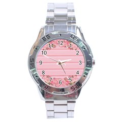 Pink Peony Outline Romantic Stainless Steel Analogue Watch by Simbadda