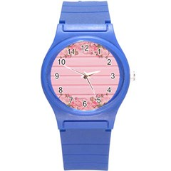 Pink Peony Outline Romantic Round Plastic Sport Watch (s) by Simbadda