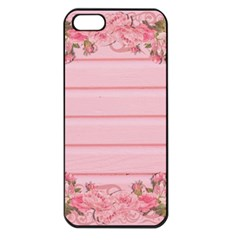Pink Peony Outline Romantic Apple Iphone 5 Seamless Case (black) by Simbadda