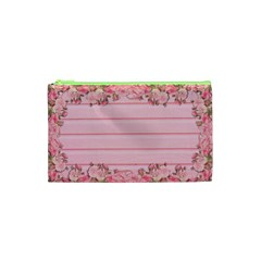 Pink Peony Outline Romantic Cosmetic Bag (xs) by Simbadda