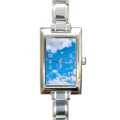 Sky Blue Clouds Nature Amazing Rectangle Italian Charm Watch by Simbadda