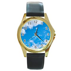 Sky Blue Clouds Nature Amazing Round Gold Metal Watch by Simbadda