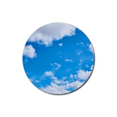 Sky Blue Clouds Nature Amazing Rubber Coaster (round)  by Simbadda