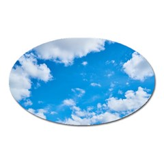 Sky Blue Clouds Nature Amazing Oval Magnet by Simbadda