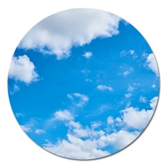 Sky Blue Clouds Nature Amazing Magnet 5  (round) by Simbadda