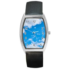 Sky Blue Clouds Nature Amazing Barrel Style Metal Watch by Simbadda
