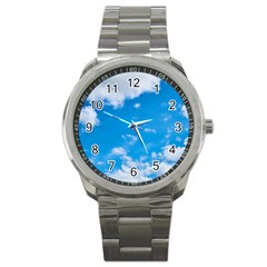 Sky Blue Clouds Nature Amazing Sport Metal Watch by Simbadda