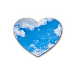 Sky Blue Clouds Nature Amazing Rubber Coaster (heart)  by Simbadda