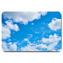 Sky Blue Clouds Nature Amazing Large Doormat  by Simbadda