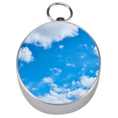 Sky Blue Clouds Nature Amazing Silver Compasses by Simbadda