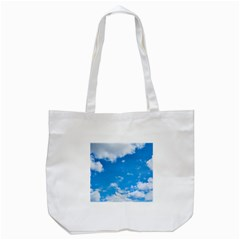 Sky Blue Clouds Nature Amazing Tote Bag (white) by Simbadda