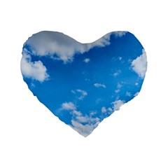 Sky Blue Clouds Nature Amazing Standard 16  Premium Flano Heart Shape Cushions by Simbadda
