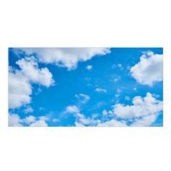 Sky Blue Clouds Nature Amazing Satin Shawl by Simbadda