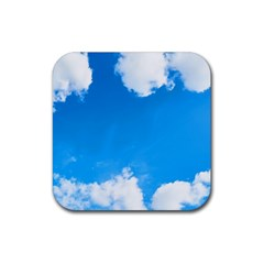 Sky Clouds Blue White Weather Air Rubber Coaster (square)  by Simbadda