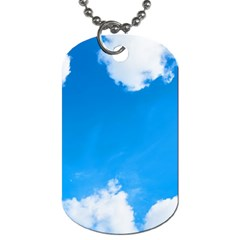 Sky Clouds Blue White Weather Air Dog Tag (one Side) by Simbadda