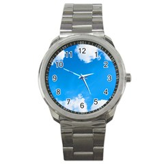 Sky Clouds Blue White Weather Air Sport Metal Watch by Simbadda