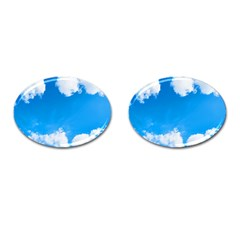 Sky Clouds Blue White Weather Air Cufflinks (oval) by Simbadda