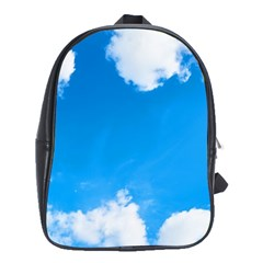 Sky Clouds Blue White Weather Air School Bags(large)  by Simbadda