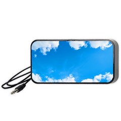 Sky Clouds Blue White Weather Air Portable Speaker (black) by Simbadda
