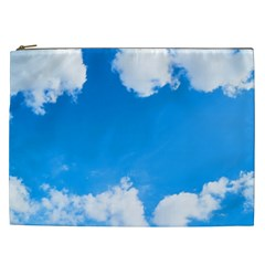 Sky Clouds Blue White Weather Air Cosmetic Bag (xxl)  by Simbadda