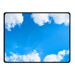 Sky Clouds Blue White Weather Air Double Sided Fleece Blanket (small)  by Simbadda