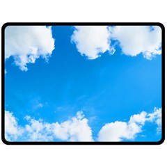 Sky Clouds Blue White Weather Air Double Sided Fleece Blanket (large)  by Simbadda