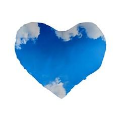 Sky Clouds Blue White Weather Air Standard 16  Premium Flano Heart Shape Cushions by Simbadda
