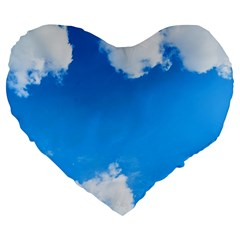 Sky Clouds Blue White Weather Air Large 19  Premium Flano Heart Shape Cushions by Simbadda
