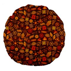 Pattern Background Ethnic Tribal Large 18  Premium Flano Round Cushions by Simbadda