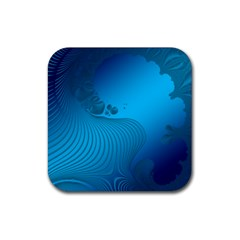 Fractals Lines Wave Pattern Rubber Square Coaster (4 Pack)  by Simbadda