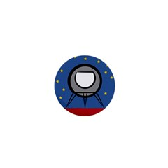 A Rocket Ship Sits On A Red Planet With Gold Stars In The Background 1  Mini Buttons by Simbadda