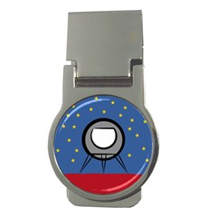 A Rocket Ship Sits On A Red Planet With Gold Stars In The Background Money Clips (round)  by Simbadda