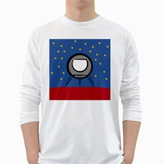 A Rocket Ship Sits On A Red Planet With Gold Stars In The Background White Long Sleeve T Shirts by Simbadda