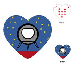 A Rocket Ship Sits On A Red Planet With Gold Stars In The Background Playing Cards (heart)  by Simbadda