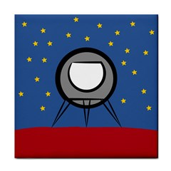 A Rocket Ship Sits On A Red Planet With Gold Stars In The Background Face Towel by Simbadda
