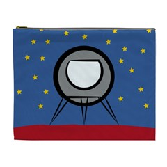 A Rocket Ship Sits On A Red Planet With Gold Stars In The Background Cosmetic Bag (xl) by Simbadda