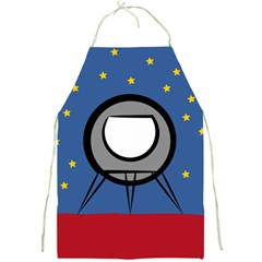 A Rocket Ship Sits On A Red Planet With Gold Stars In The Background Full Print Aprons by Simbadda