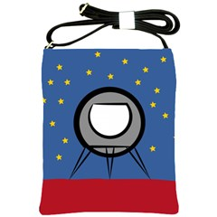 A Rocket Ship Sits On A Red Planet With Gold Stars In The Background Shoulder Sling Bags by Simbadda