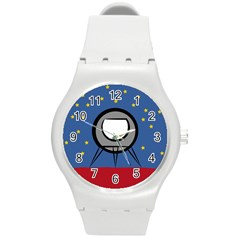 A Rocket Ship Sits On A Red Planet With Gold Stars In The Background Round Plastic Sport Watch (m) by Simbadda