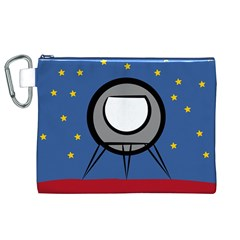 A Rocket Ship Sits On A Red Planet With Gold Stars In The Background Canvas Cosmetic Bag (xl) by Simbadda
