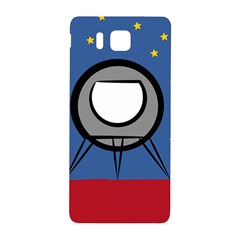 A Rocket Ship Sits On A Red Planet With Gold Stars In The Background Samsung Galaxy Alpha Hardshell Back Case by Simbadda