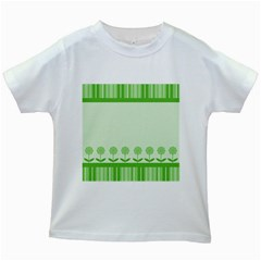 Floral Stripes Card In Green Kids White T Shirts by Simbadda