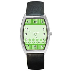 Floral Stripes Card In Green Barrel Style Metal Watch by Simbadda