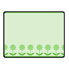 Floral Stripes Card In Green Fleece Blanket (small) by Simbadda