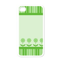 Floral Stripes Card In Green Apple Iphone 4 Case (white) by Simbadda
