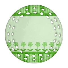 Floral Stripes Card In Green Ornament (Round Filigree) by Simbadda