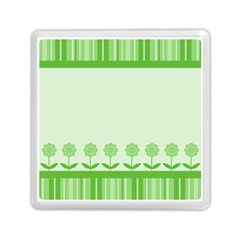 Floral Stripes Card In Green Memory Card Reader (square)  by Simbadda