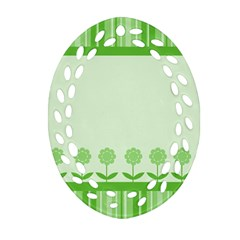 Floral Stripes Card In Green Oval Filigree Ornament (two Sides) by Simbadda